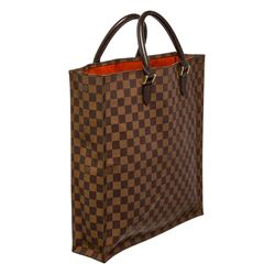 Louis Vuitton Damier Ebene Canvas Leather Sac Plat Bag