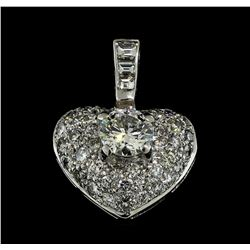 1.71 ctw Diamond Heart Pendant - 18KT White Gold