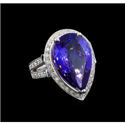 GIA Cert 13.42 ctw Tanzanite and Diamond Ring - 14KT White Gold