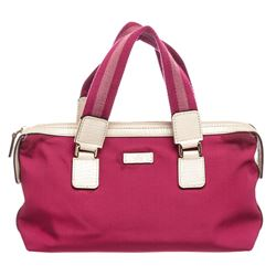 Gucci Pink White Nylon Leather Tote Bag