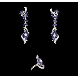 6.00 ctw Sapphire and Diamond Jewelry Suite - 14KT White Gold