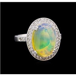 3.50 ctw Opal and Diamond Ring - 14KT White Gold