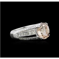 3.54 ctw Morganite and Diamond Ring - 18KT White Gold