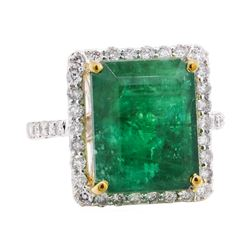 10.80 ctw Emerald and Diamond Ring - 14KT White and Yellow Gold