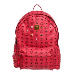MCM Red Visetos Coated Canvas Studded Large Backpack