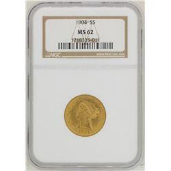 1904 $5 Liberty Head Half Eagle Gold Coin NGC MS62