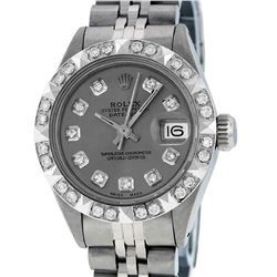 Rolex Ladies Stainless Steel Slate Grey Pyramid Diamond Datejust Wristwatch