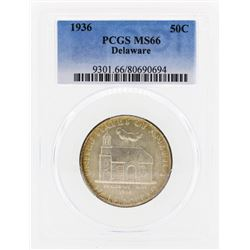 1936 Delaware Commemorative Half Dollar Coin PCGS MS66