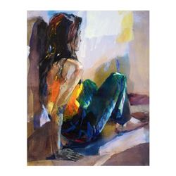 Woman in Blue and Green by Comyn, Christine