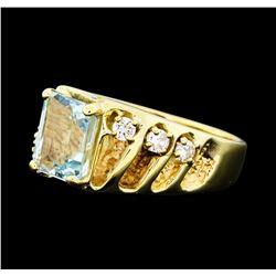 3.00 ctw Aquamarine and Diamond Ring - 14KT Yellow Gold