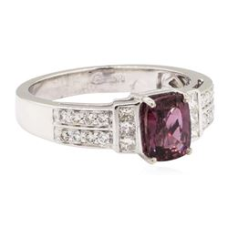 1.82 ctw Colored Stone And Diamond Ring - 18KT White Gold