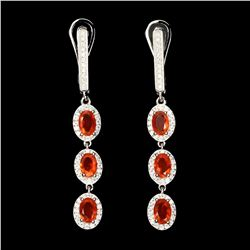 Natural Top Rich Orange Fire Opal Earrings