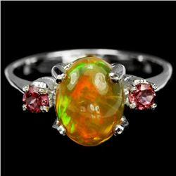 Natural OPAL & PURPLISH PINK RHODOLITE GARNET Ring