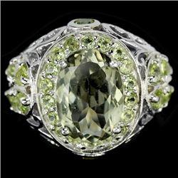 NATURAL GREEN Tea AMETHYST & GREEN PERIDOT Ring