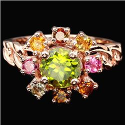 NATURAL PERIDOT & MULTI COLOR TOURMALINE Ring