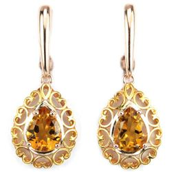 NATURAL ORINGISH YELLOW CITRINE PEAR EARRING