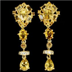NATURAL ORANGISH YELLOW CITRINE 40x15 mm Earrings