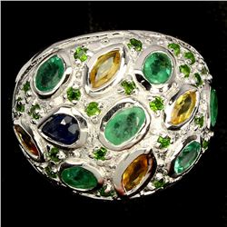 Natural Emerald Chrome Diopside Sapphire Ring
