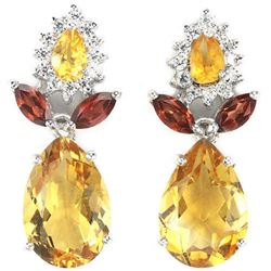 NATURAL ORANGISH YELLOW CITRINE GARNET Earring