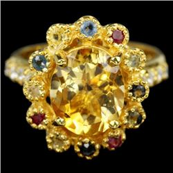 Natural CITRINE & MULTI COLOR SAPPHIRE Ring