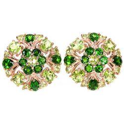 NATURAL GREEN CHROME DIOPSIDE & PERIDOT  Earrings