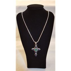8 CT SAPPHIRE CROSS PENDANT WITH EMERALD ACCENT