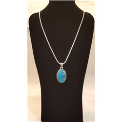 STUNNING NATURAL BLUE TURQUOISE & COPPER PENDANT
