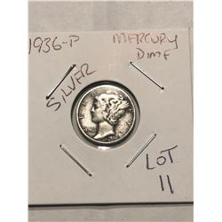 1936 P Mercury Silver Dime Nice Early US Silver Coin