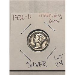 1936 D Denver Mercury Silver Dime Nice Early US Silver Coin