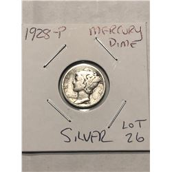 1928 P Mercury Silver Dime Nice Early US Silver Coin