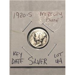 1920 S San Francisco Mercury Silver Dime Nice Early US Silver Coin