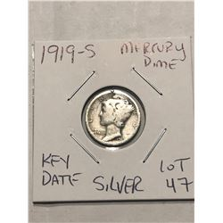 1919 S San Fransico Mercury Silver Dime Nice Early US Silver Coin