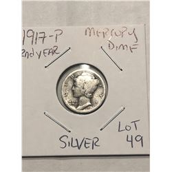 1917 P Mercury Silver Dime Nice Early US Silver Coin