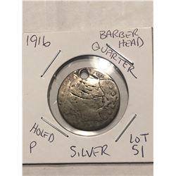 1916 Berber Head Silver Quarter Holed Poor Conditon
