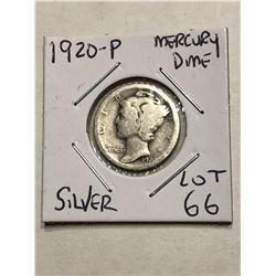 1920 P Silver Mercury Dime