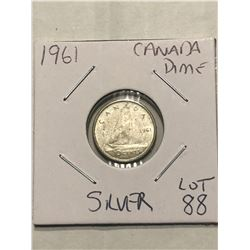 1961 Canada Silver Dime Nice Early Canadian Coin