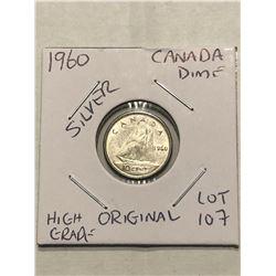 1960 Original Canada Silver Dime Nice High Grade Canadian Coin