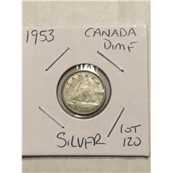 1953 Canada Silver Dime Nice Early Canadian Coin