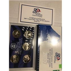 2007 US State Quarters Proof Set MT WA ID WY UT in Original Box