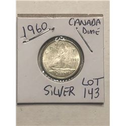 1960 Silver Canadian Dime Nice Early Coin