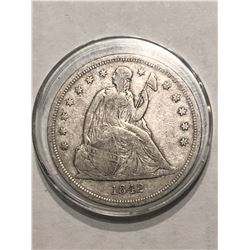 Extremely Rare 1842 Seated Liberty Silver Dollar Fine Grade 3rd Year