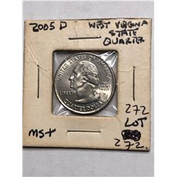 2005 D West Virginia State Quarter MS Plus High Grade