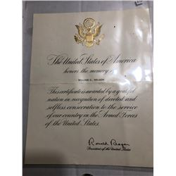 Rare Signed Ronald Reagan Awarded Certificate on US Paper
