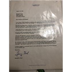 Rare August 1980 Signed Letter Gerald R Ford Recommendation Letter