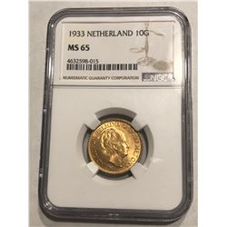 Hard to Get 1933 Netherland Gold 10 Gulden Certified NGC MS65