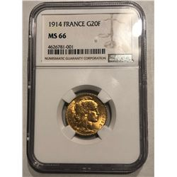 Rare Hard to Get 1914 France Gold 20 Francs Certified NGC MS66 Very High Grade!