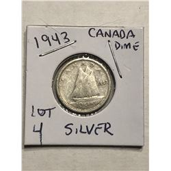 1943 Silver Canadian Dime Nice Early Coin