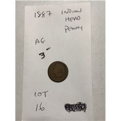 1887 Indian Head Penny AGGrade Early US Coin