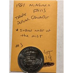 1981 Niagra Falls Canada Trade Dollar Indian made of the Mist in MS High Grade