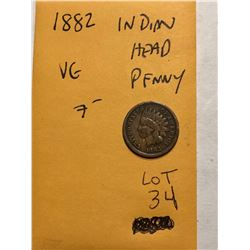 1882 Indian Head Penny Very Good Grade Nice Early US Coin